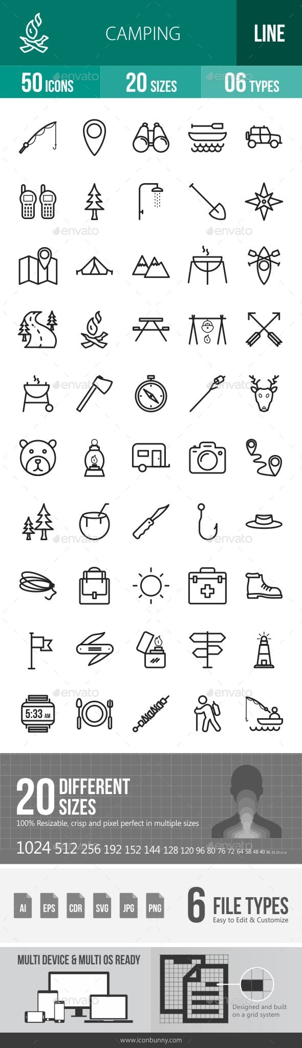Camping Line Icons - Icons