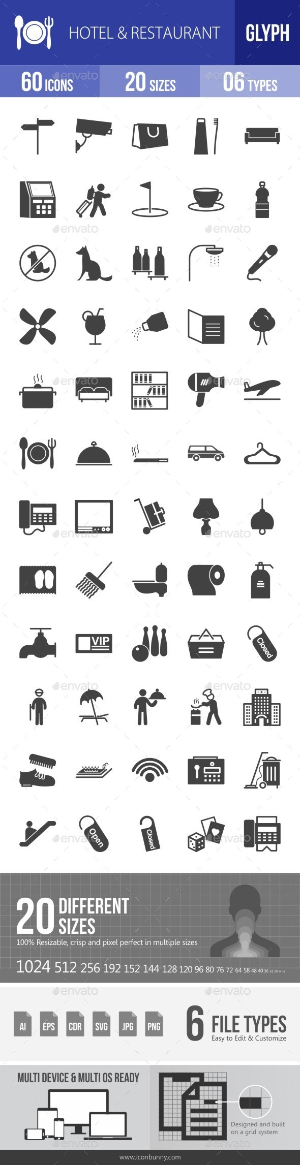 Hotel & Restaurant Glyph Icons - Icons
