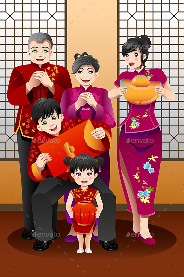 Family Celebrating Chinese New Year - Seasons/Holidays Conceptual