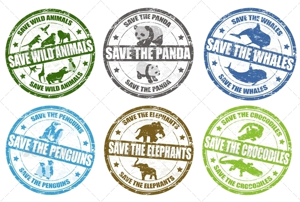 Save wild animals stamps - Animals Characters