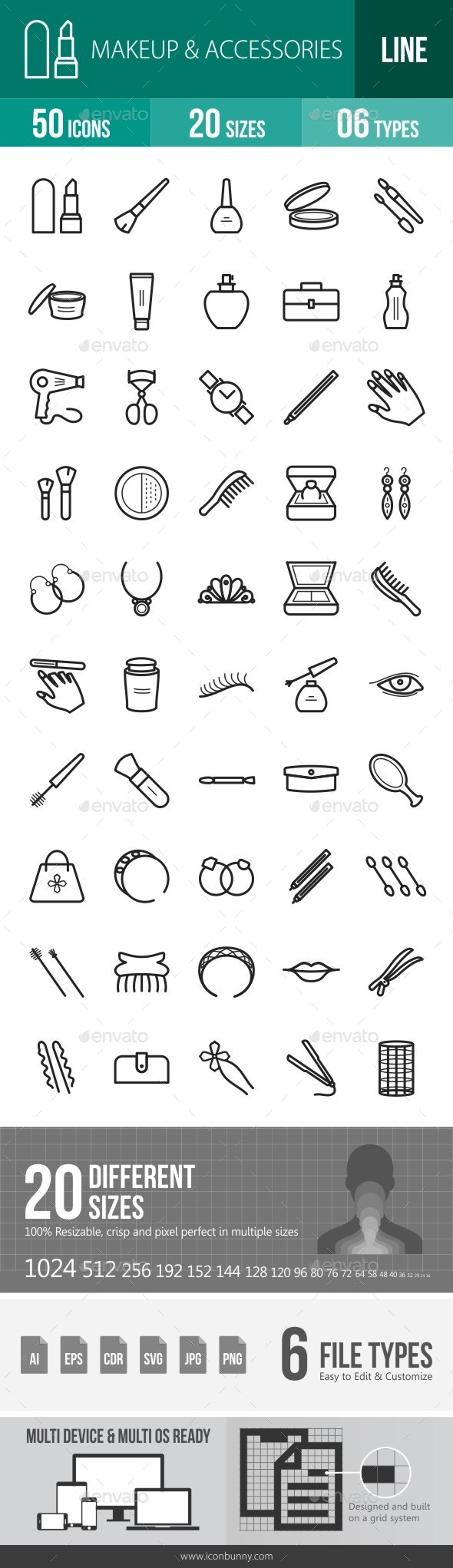 Makeup & Accessories Line Icons - Icons