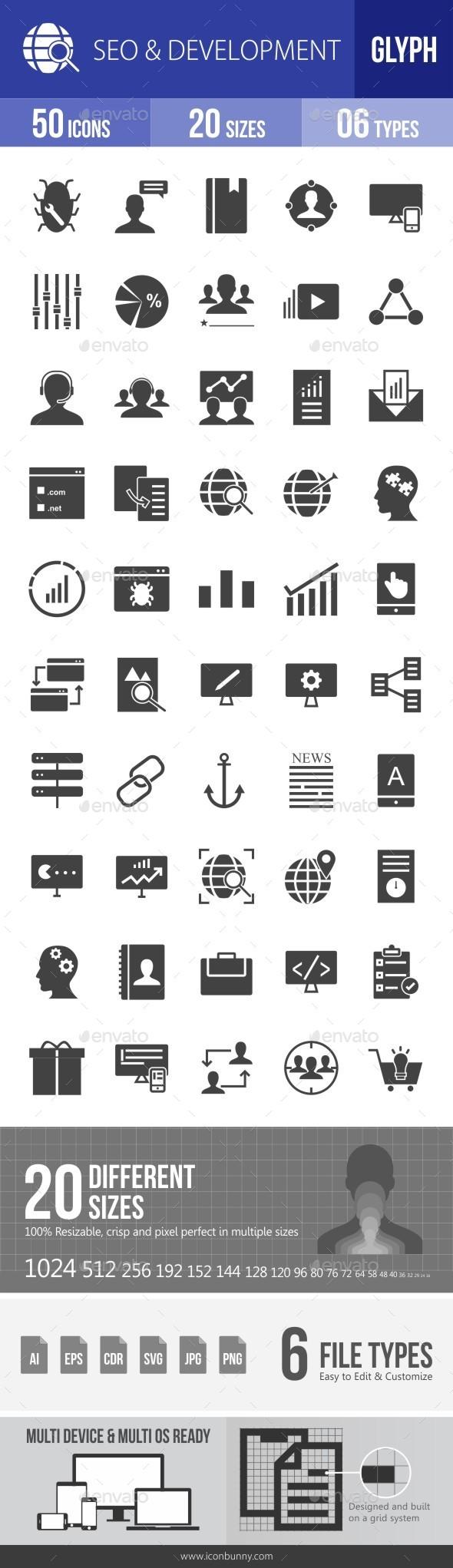 SEO & Development Services Glyph Icons - Icons