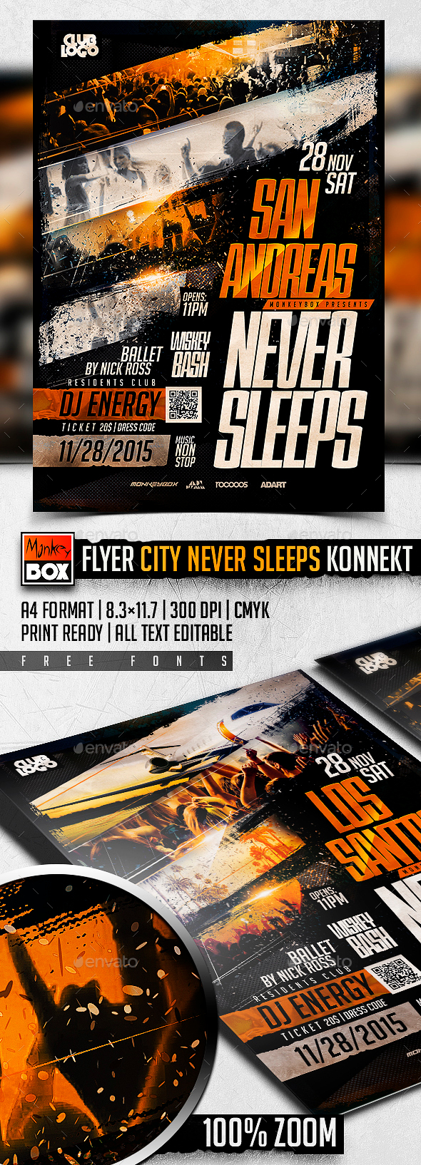 Flyer City Never Sleeps Konnekt - Events Flyers