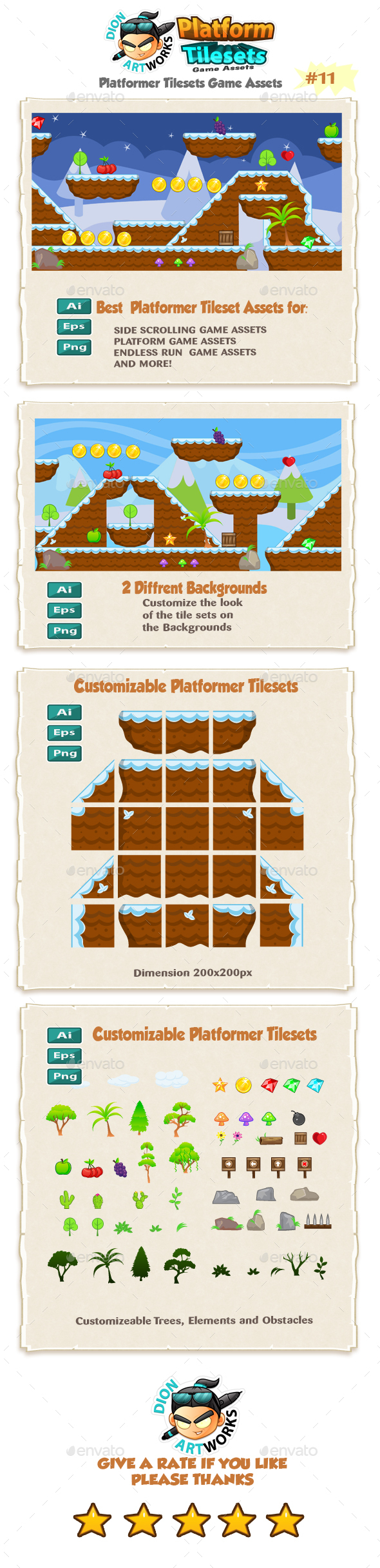 Platformer Game Tilesets 11 - Tilesets Game Assets