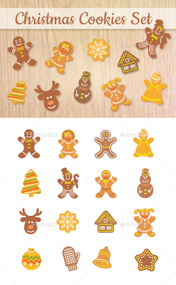 Christmas Cookies Flat Icons Set - Seasonal Icons