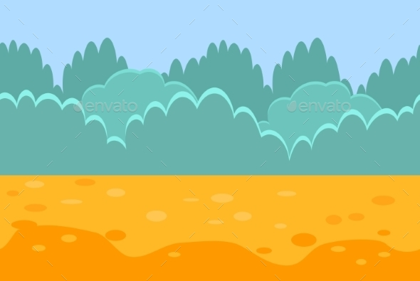 Seamless Horizontal Landscape For a Game, Bushes - Landscapes Nature