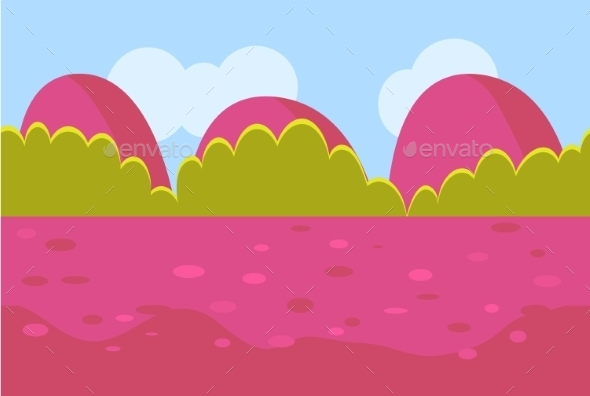Landscape Cartoon Red And Green Seamless - Landscapes Nature