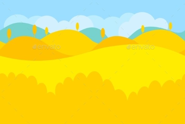 Cartoon Landscape Of Yellow Desert And Trees - Landscapes Nature