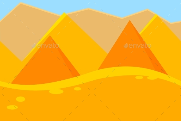 Cartoon Landscape Of Desert Pyramids For Game - Landscapes Nature