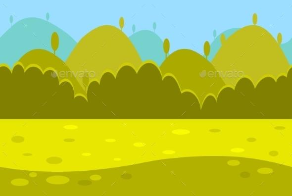 Cartoon Landscape Of Green Meadows, Hills - Landscapes Nature
