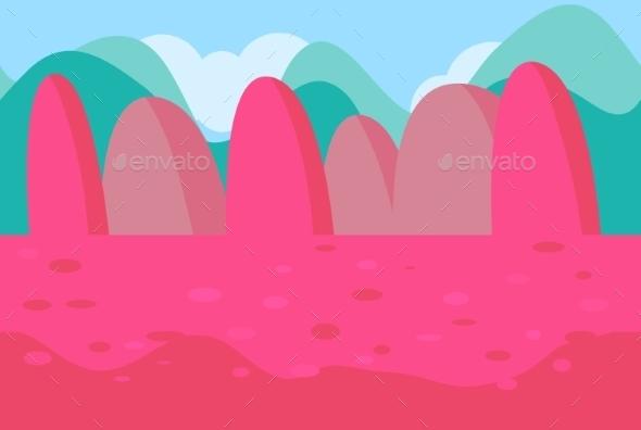 Seamless Landscape Of Pink Hills For Game - Landscapes Nature