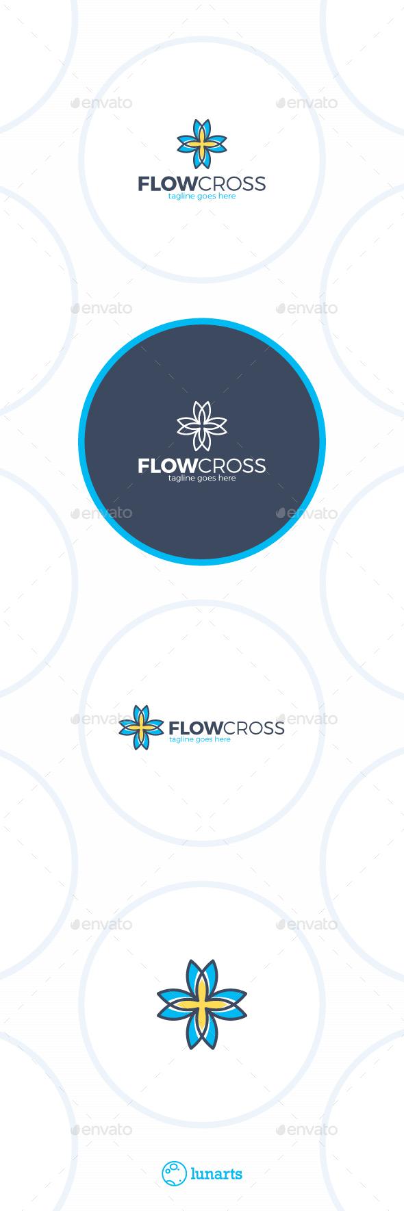 Flower Cross Logo - Nature Logo Templates