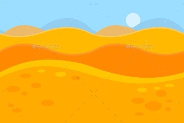 Cartoon Landscape Of Yellow Desert Dunes For Game - Landscapes Nature