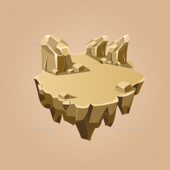 Cartoon Stone Isometric Island For Game, Vector - Landscapes Nature