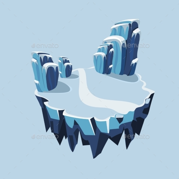 Cartoon Isometric Icy Island For Game, Vector - Landscapes Nature