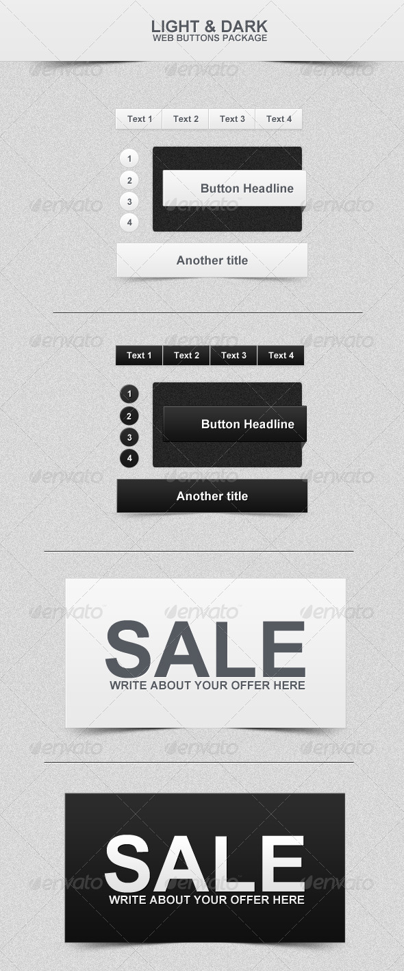 Dark & Light - Web Buttons - Buttons Web Elements