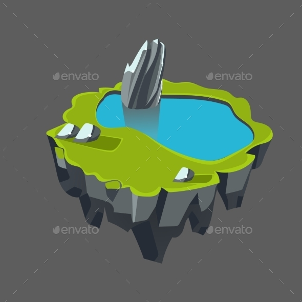 Cartoon Stone Isometric Island With Waterfall And - Landscapes Nature