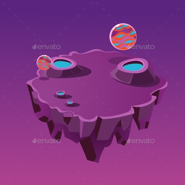 Cartoon Stone Isometric Island With Craters - Landscapes Nature