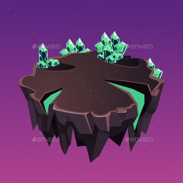 Cartoon Stone Isometric Island With Crystals For - Landscapes Nature
