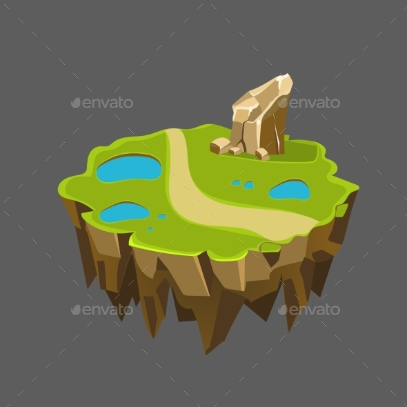 Cartoon Stone Isometric Island With Waterfall - Landscapes Nature
