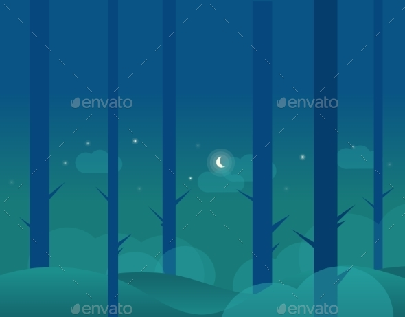 Wallpaper Landscape Of Winter Forest And Moon - Seasons Nature