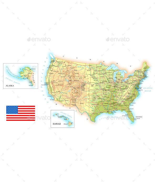 USA Detailed Topographic Map - Travel Conceptual