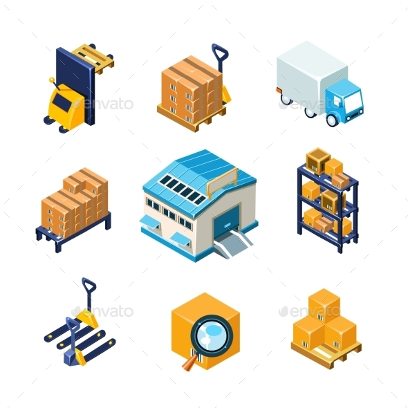 Warehouse And Logistics Equipment Icon Set. Flat - Buildings Objects