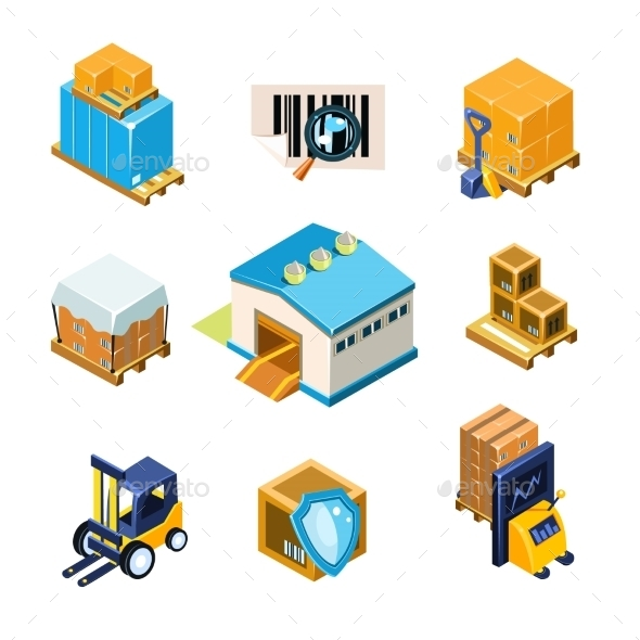 Warehouse And Logistics Equipment Icon Set. Vector - Buildings Objects