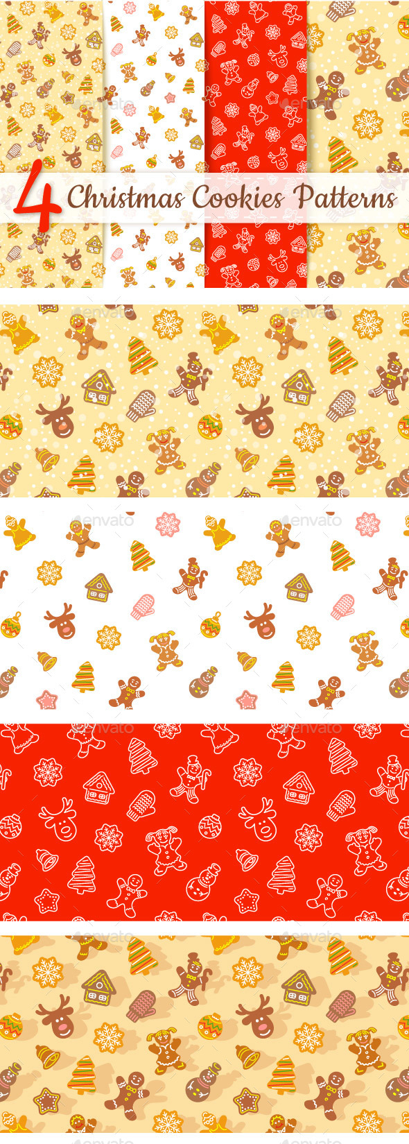 Christmas Cookies Seamless  Background Patterns - Christmas Seasons/Holidays