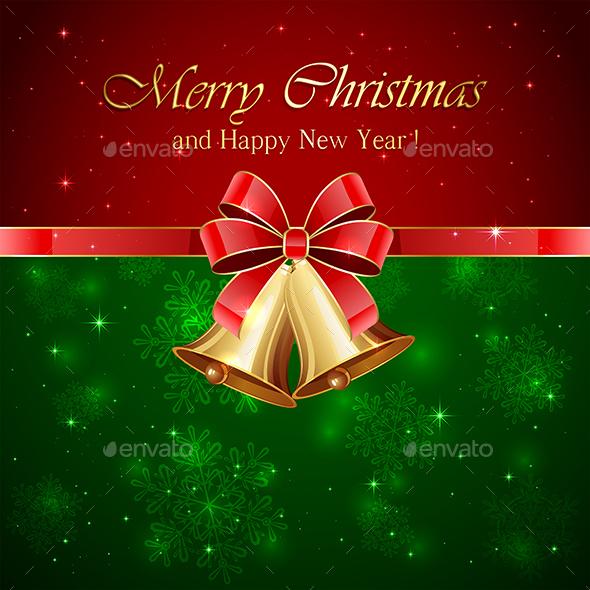 Christmas Bells with Red Bow - Christmas Seasons/Holidays
