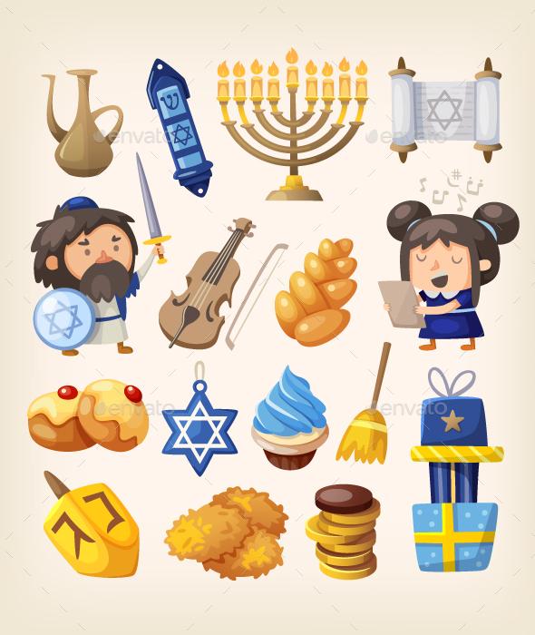 Hanukkah Icons Set - Religion Conceptual
