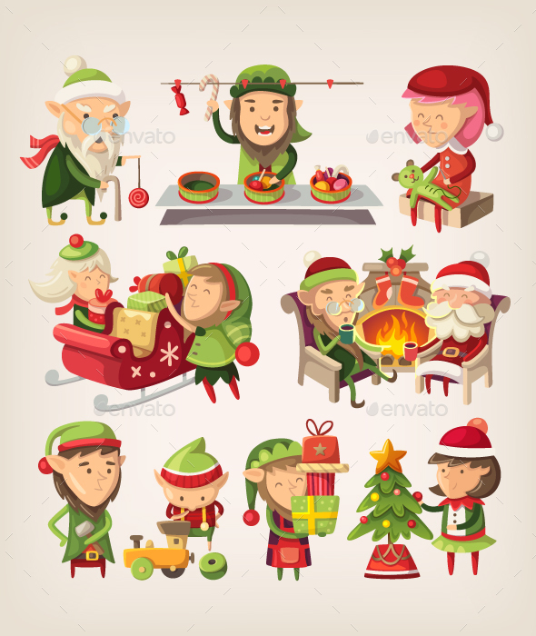 Set of Christmas Elves - Miscellaneous Characters