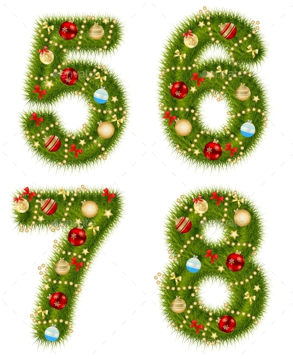 Christmas and New Year Numbers - Decorative Symbols Decorative