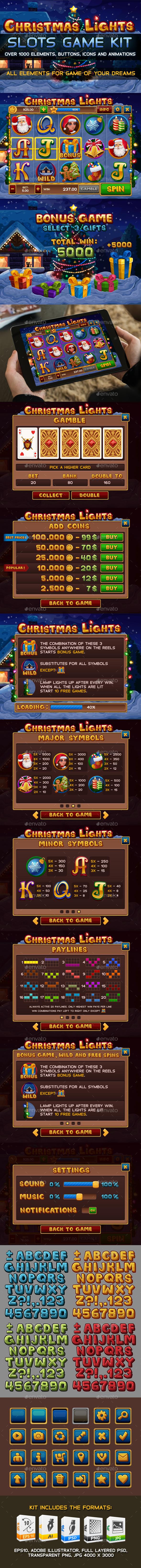 Christmas lights slots game kit - Game Assets