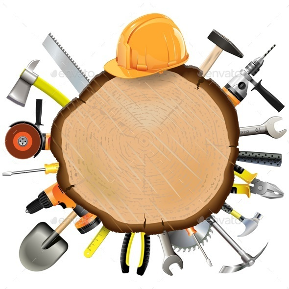 Construction Wooden Board with Tools - Industries Business
