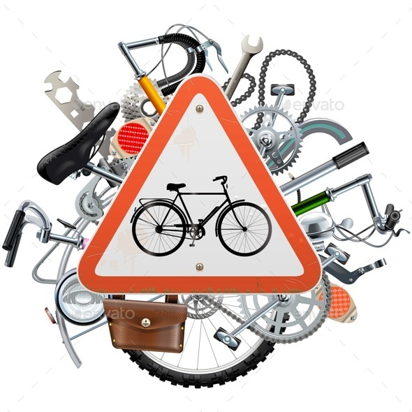 Bicycle Spares Concept with Triangle Sign - Sports/Activity Conceptual