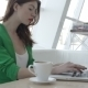 Attractive Girl On Cofee Break In Restaurant - VideoHive Item for Sale