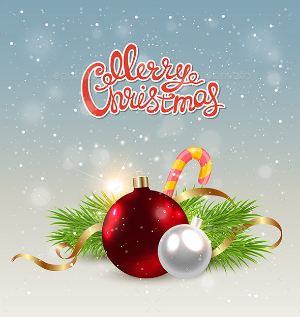 Red Decoration and Candy Cane - Christmas Seasons/Holidays