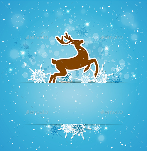 Background with Deer and Snowflakes - Christmas Seasons/Holidays