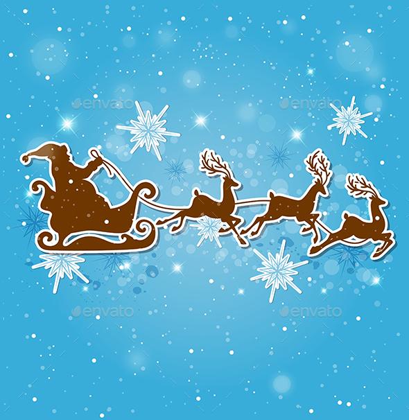 Santa Claus Deers and Snowflakes - Christmas Seasons/Holidays