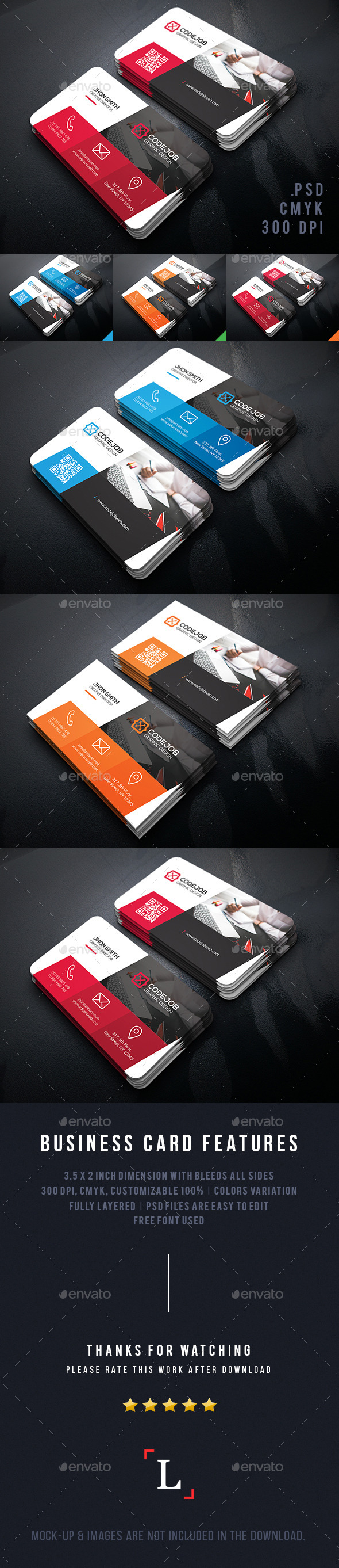 Codejob Corporate Business Cards - Business Cards Print Templates