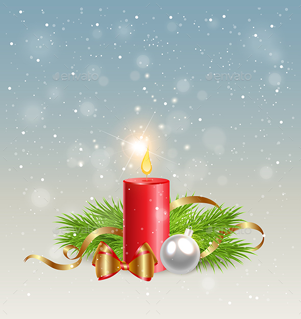Red Candle and Decorations - Christmas Seasons/Holidays