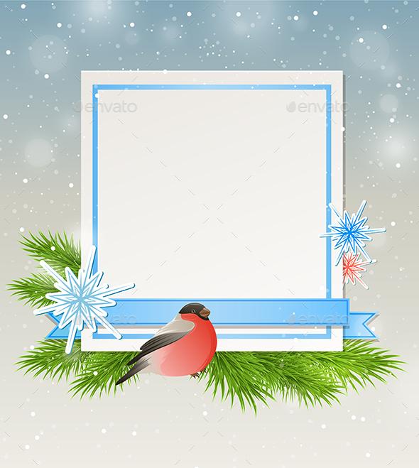 Bullfinch and White Sheet of Paper - Christmas Seasons/Holidays