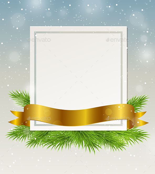 Decorative Frame with Golden Ribbon - Christmas Seasons/Holidays
