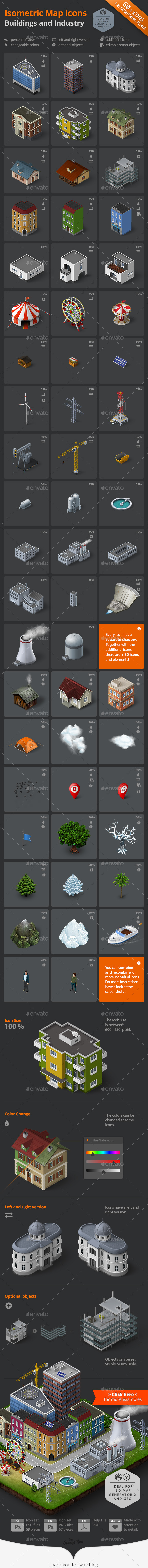 Isometric Map Icons - Buildings and Industry - Objects Icons
