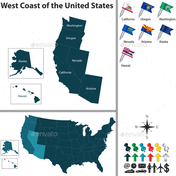 West Coast of the United States - Travel Conceptual