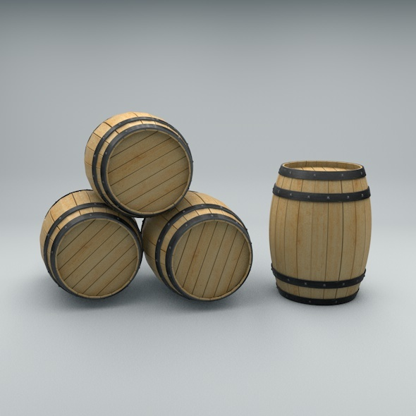 Wooden Barrel with Metal Bands - 3DOcean Item for Sale