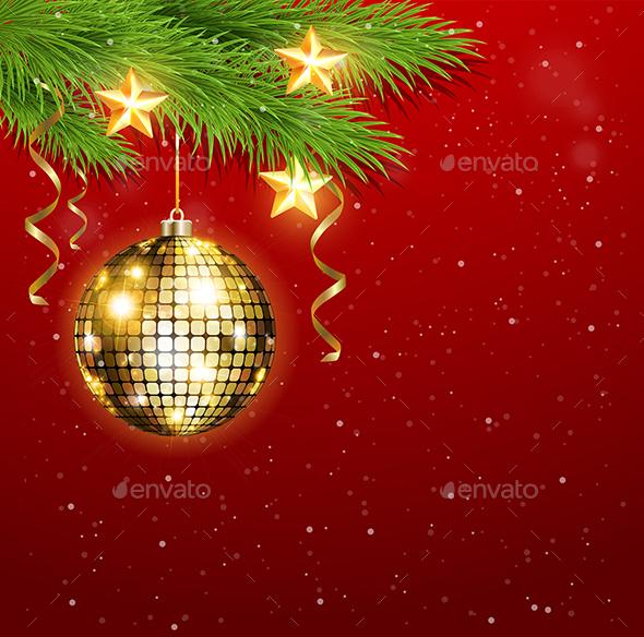 Shining Golden Decorations and Stars - Christmas Seasons/Holidays