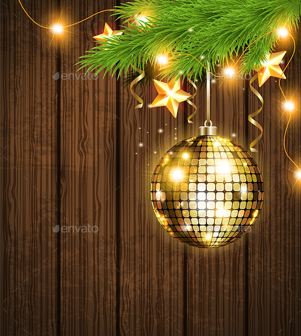 Shining Golden Decoration and Garland - Christmas Seasons/Holidays