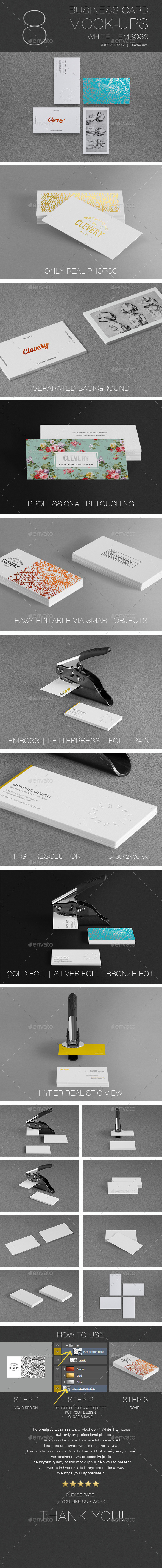 Photorealistic Business Card Mockup // White | Emboss  - Business Cards Print